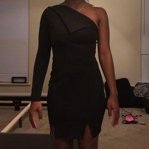 Petite One Shoulder Black Dress